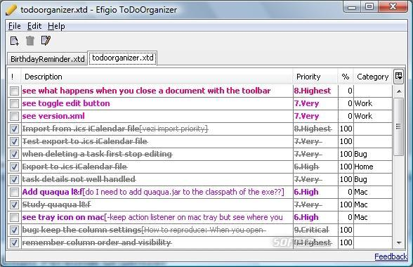 Efigio ToDo Organizer Screenshot 2