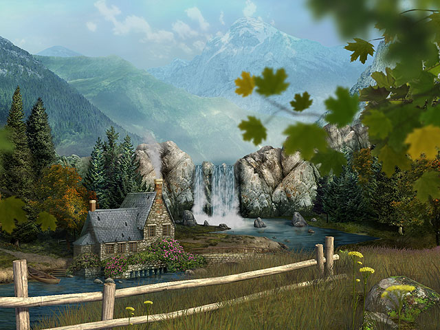 Mountain Waterfall 3D Screensaver Screenshot