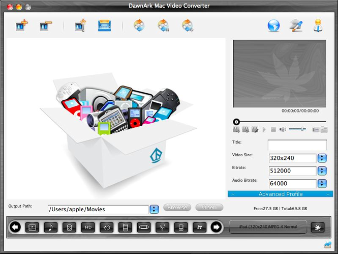 DawnArk Mac Video Converter Screenshot