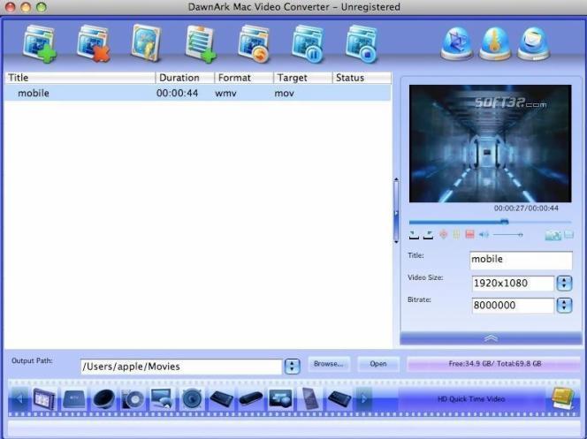 DawnArk Mac Video Converter Screenshot 3