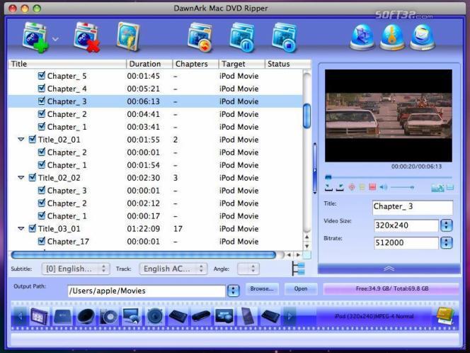 DawnArk Mac DVD Ripper Screenshot 3