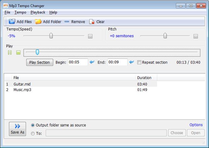 Mp3 Tempo Changer Screenshot