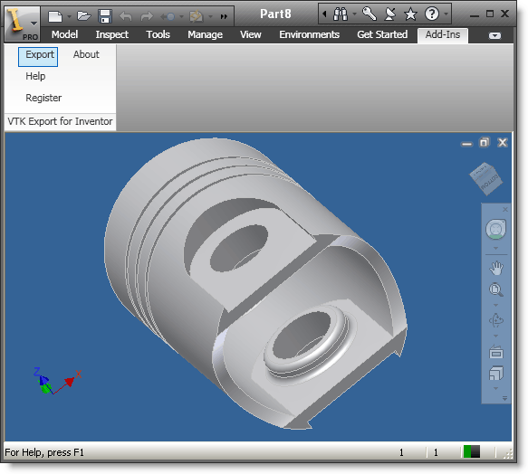 VTK Export for Inventor Screenshot