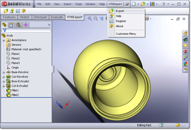VTK Export for SolidWorks Screenshot