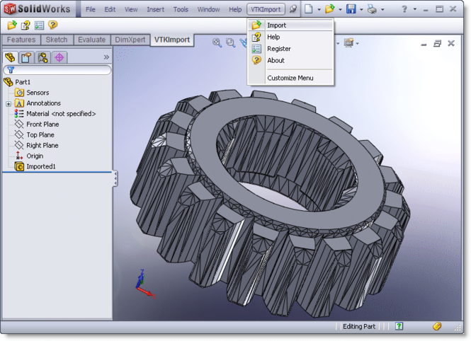 VTK Import for SolidWorks Screenshot 1