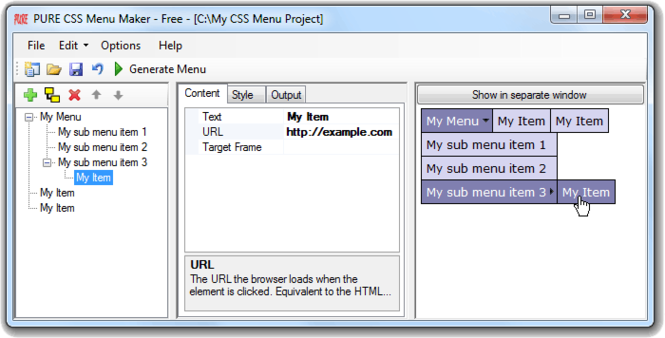 PURE CSS Menu Maker Screenshot 1