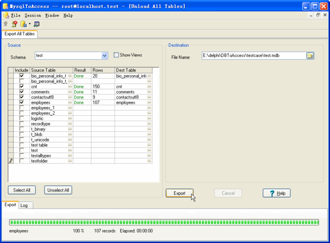 MysqlToAccess Screenshot 1