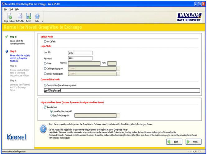 Convert GroupWise to Exchange Screenshot