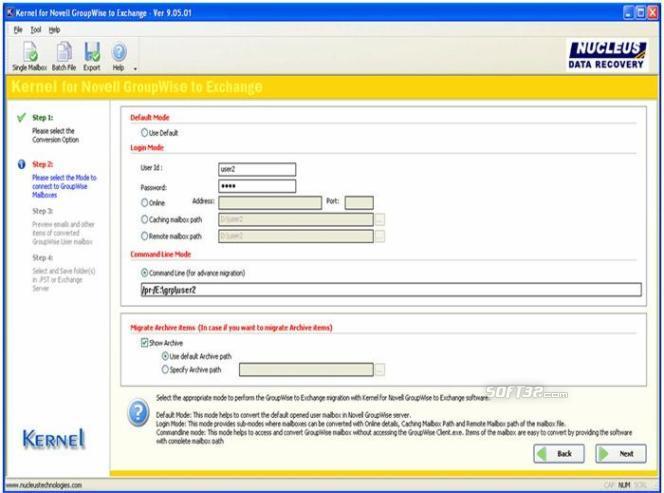 Convert GroupWise to Exchange Screenshot 2
