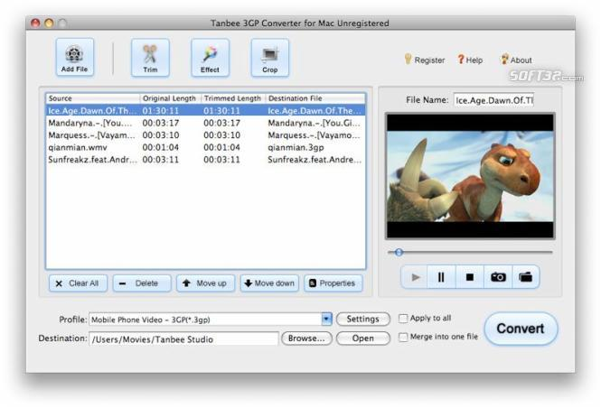 Tanbee 3GP Video Converter for Mac Screenshot 1