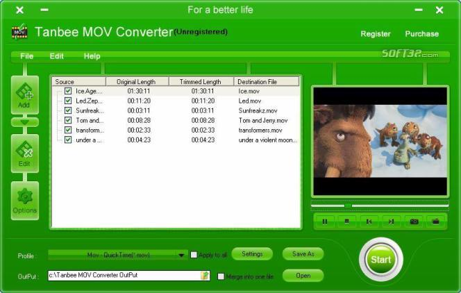 Tanbee Video to MOV Converter Screenshot 1