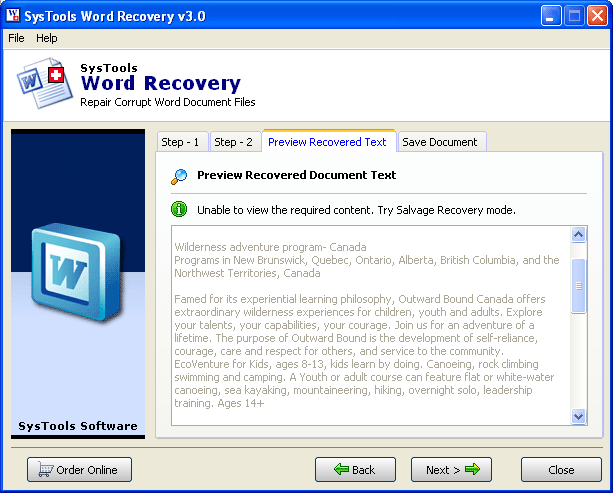 SysTools Word Recovery Tool Screenshot