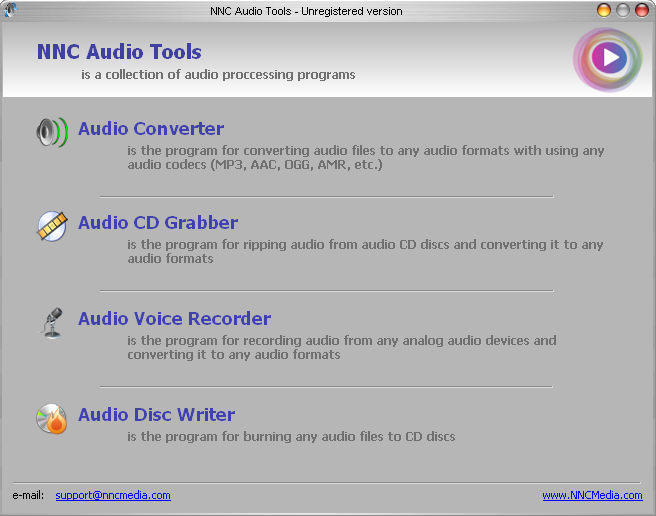 NNC Audio Tools Package Screenshot
