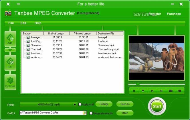Tanbee Video to MPEG Converter Screenshot