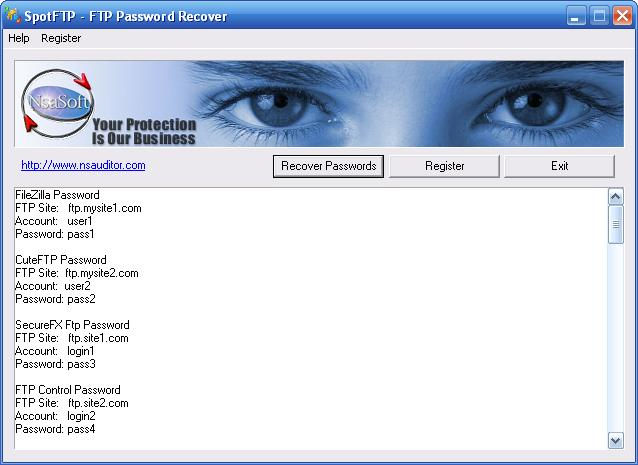 SpotFTP Password Recover Screenshot