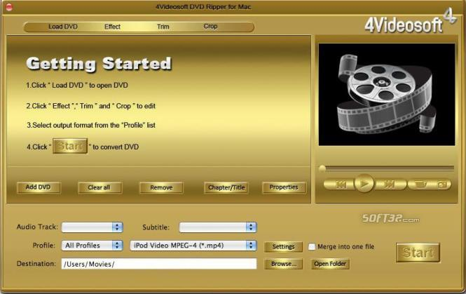 4Videosoft DVD Ripper for Mac Screenshot 3