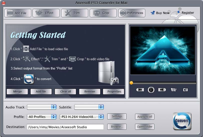 Aiseesoft PS3 Converter for Mac Screenshot