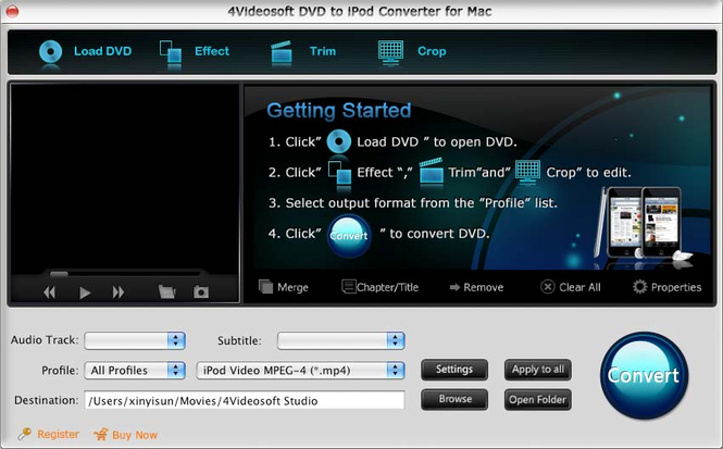 4Videosoft DVD to iPod Converter for Mac Screenshot 2