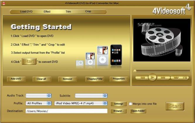 4Videosoft DVD to iPod Converter for Mac Screenshot 4