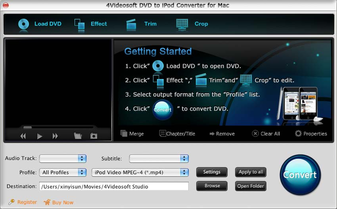 4Videosoft DVD to iPod Converter for Mac Screenshot 1