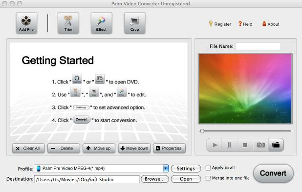 Palm Video Converter for Mac Screenshot 1