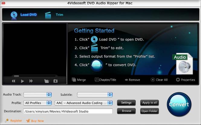 4Videosoft DVD Audio Ripper for Mac Screenshot 1