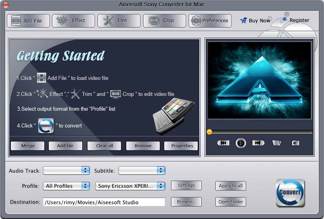 Aiseesoft Sony Converter for Mac Screenshot