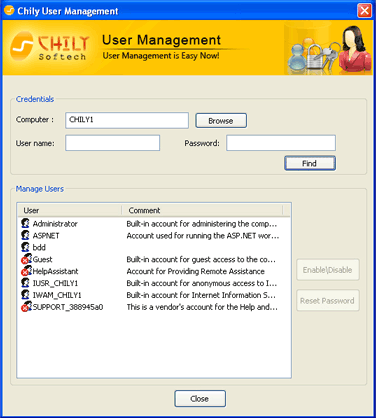 Chily User Management Screenshot 1