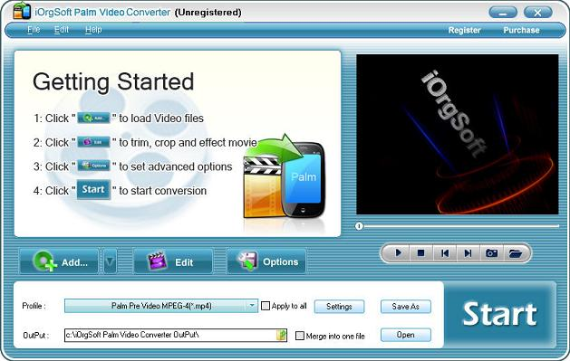 iOrgsoft Palm Video Converter Screenshot
