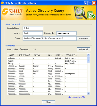 Chily Active Directory Query Screenshot