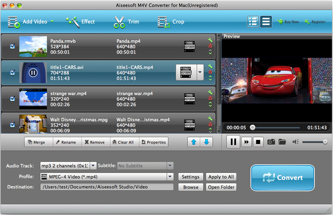 Aiseesoft M4V Converter for Mac Screenshot