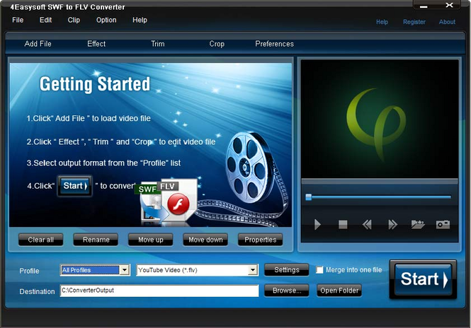 4Easysoft SWF to FLV Converter Screenshot