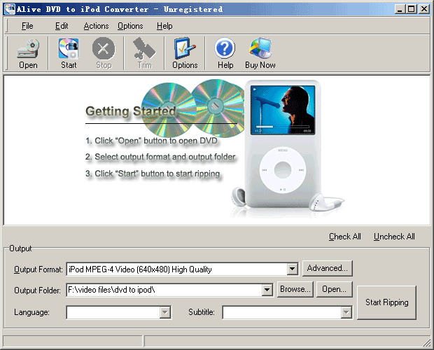 Alive DVD to iPod Converter Screenshot 1