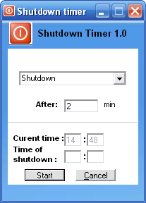 Free Shutdown Timer Screenshot
