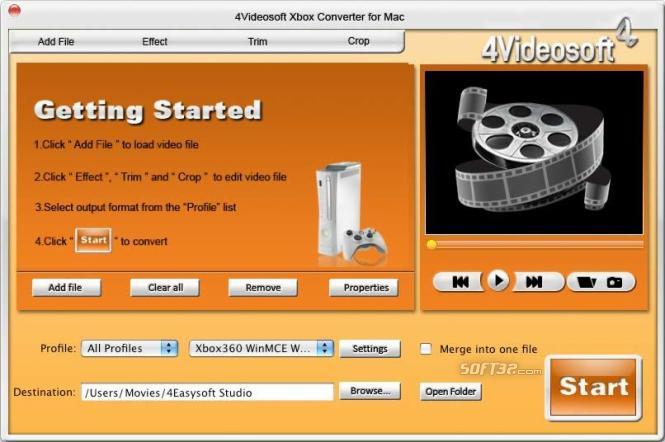 4Videosoft Xbox Converter for Mac Screenshot 2