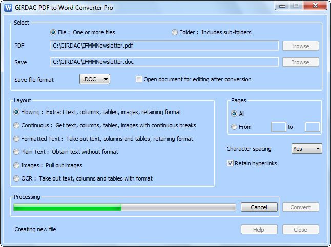 PDF to Word Converter Pro Screenshot 1