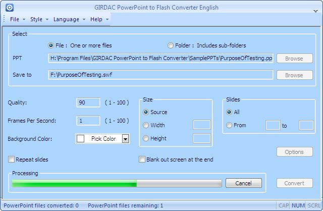 PowerPoint to Flash Converter Screenshot