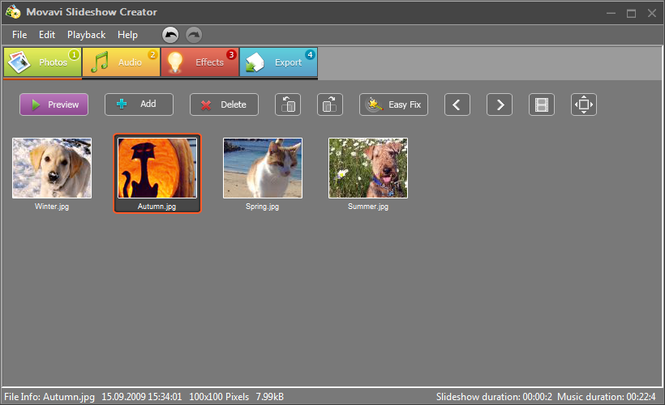 Movavi Slideshow Creator Screenshot