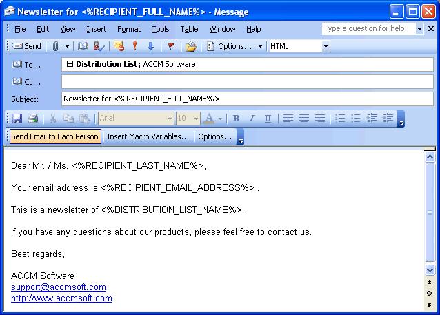 Send Bulk Email Marketing using Outlook Screenshot