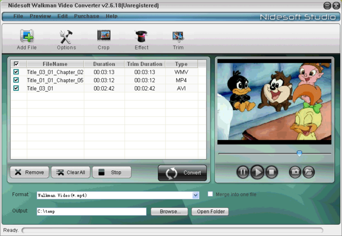 Nidesoft Walkman Video Converter Screenshot