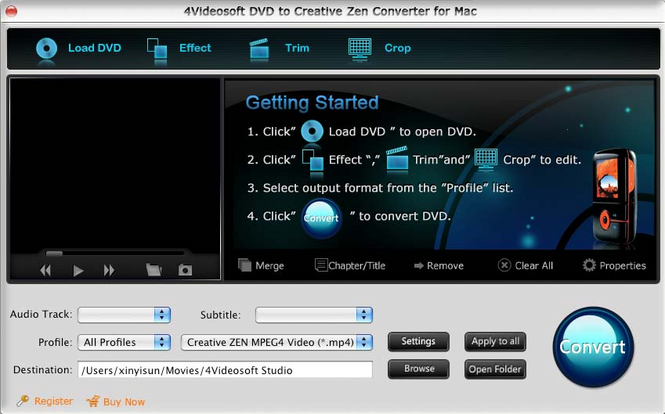 4Videosoft Mac DVD CreativeZen Converter Screenshot