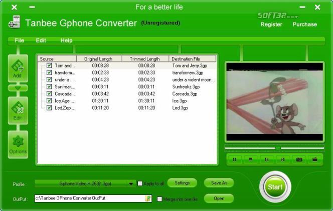 Tanbee Gphone Video Converter Screenshot