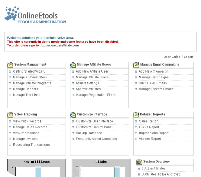 Omnistar Affiliate Software Screenshot 1