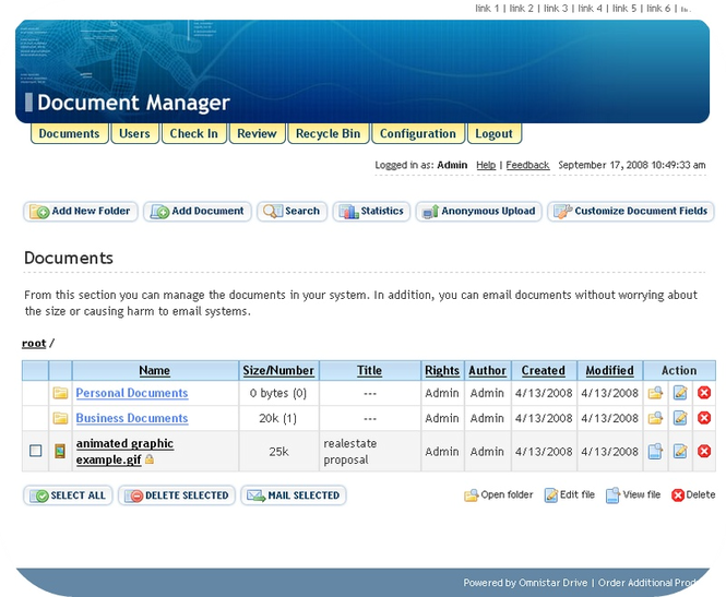Omnistar Document Manager Screenshot