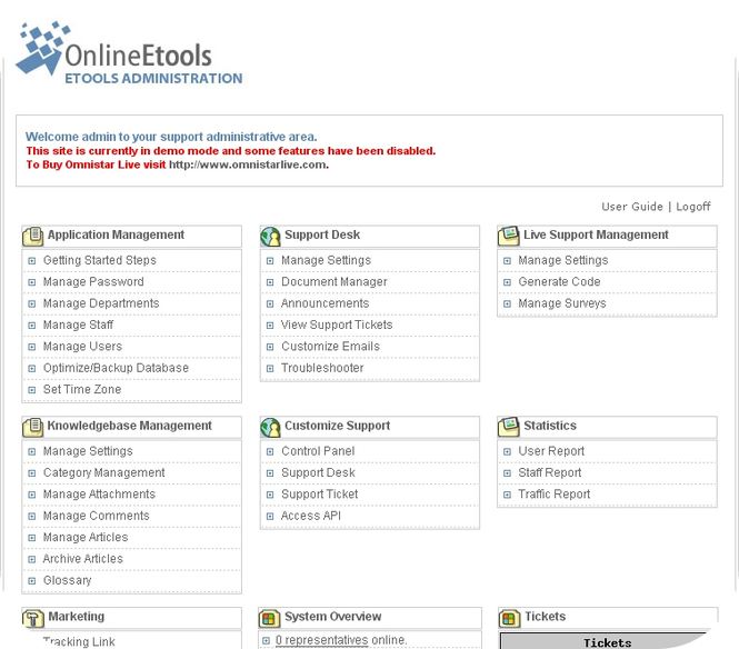 Omnistar Help Desk Software Solution Screenshot