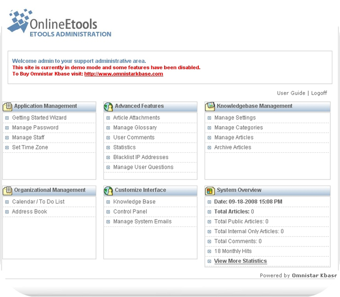 Omnistar Knowledge Management Software Screenshot 1