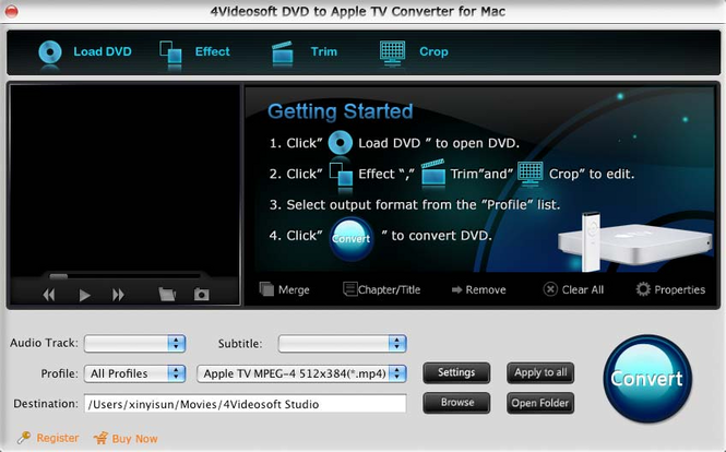 4Videosoft Mac DVD to Apple TV Converter Screenshot 1