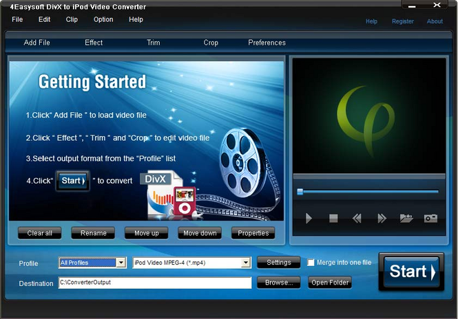 4Easysoft DivX to iPod Video Converter Screenshot