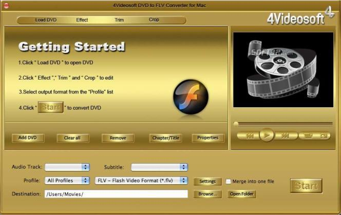 4Videosoft DVD to FLV Converter for Mac Screenshot 2