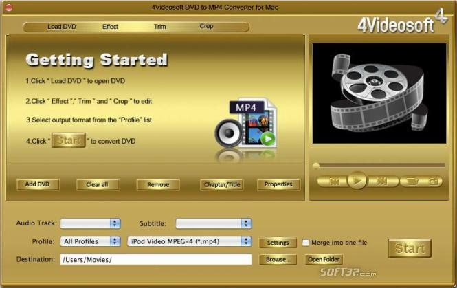 4Videosoft DVD to MP4 Converter for Mac Screenshot 2